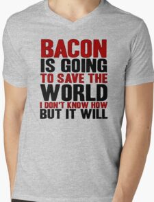 Bacon Save World Mens V-Neck T-Shirt