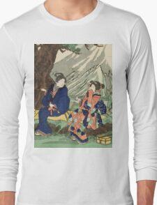 Utagawa Kuniyoshi - Act Eight (Hachi Danme)1854. Mountains landscape: mountains, rocks, rocky nature, sky and clouds, trees, peak, women, men, hill, travel, hillside Long Sleeve T-Shirt