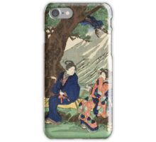 Utagawa Kuniyoshi - Act Eight (Hachi Danme)1854. Mountains landscape: mountains, rocks, rocky nature, sky and clouds, trees, peak, women, men, hill, travel, hillside iPhone Case/Skin