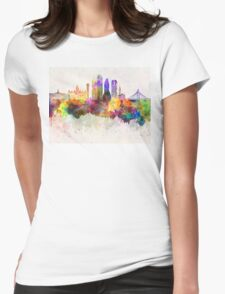 Dallas skyline in watercolor background Womens Fitted T-Shirt
