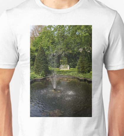 Backyard Oasis - White Garden Bench by the Fountain Unisex T-Shirt