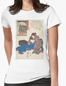 Utagawa Kuniyoshi - Mikawa. Woman portrait: sensual woman, geisha, kimono, courtesan, silk, beautiful dress, umbrella, wig, lady, exotic, beauty Womens Fitted T-Shirt
