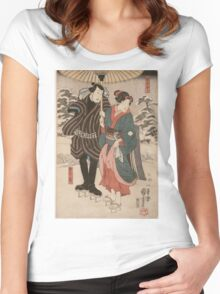 Utagawa Kuniyoshi - Osatao And Gonta1. Lovers portrait: sensual woman, woman and man, kiss, kissing lovers, embrace, lovely couple,  lover, valentine's day, sexy, romance, female and male Women's Fitted Scoop T-Shirt