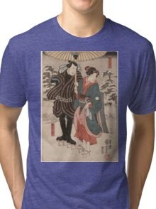 Utagawa Kuniyoshi - Osatao And Gonta1. Lovers portrait: sensual woman, woman and man, kiss, kissing lovers, embrace, lovely couple,  lover, valentine's day, sexy, romance, female and male Tri-blend T-Shirt
