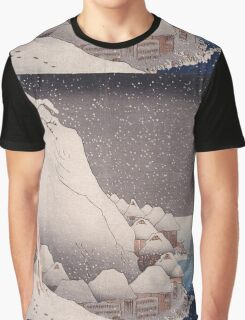 Utagawa Kuniyoshi - Snow At Tsukahara, Sado Island, 1271. Mountains landscape: mountains, rocks, rocky nature, sky and clouds, trees, peak, forest, rustic, hill, travel, hillside Graphic T-Shirt