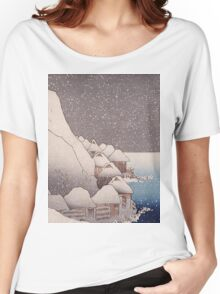 Utagawa Kuniyoshi - Snow At Tsukahara, Sado Island, 1271. Mountains landscape: mountains, rocks, rocky nature, sky and clouds, trees, peak, forest, rustic, hill, travel, hillside Women's Relaxed Fit T-Shirt