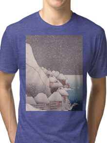 Utagawa Kuniyoshi - Snow At Tsukahara, Sado Island, 1271. Mountains landscape: mountains, rocks, rocky nature, sky and clouds, trees, peak, forest, rustic, hill, travel, hillside Tri-blend T-Shirt