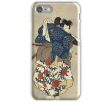 Utagawa Kuniyoshi - An Actor In The Role Of Kurando Yukinaga. Man portrait:  actor ,  mask,  face,  man ,  samurai ,  hero,  costume,  kimono,  tattoos,  theater,  shows iPhone Case/Skin