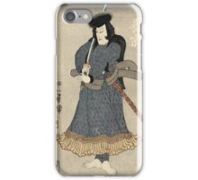 Utagawa Kuniyoshi - An Actor In The Role Of Osadanotaro Nagamune. Man portrait:  actor ,  mask,  face,  man ,  samurai ,  hero,  costume,  kimono,  tattoos,  theater,  shows iPhone Case/Skin
