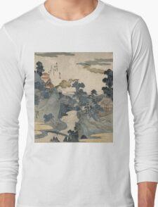 Utagawa Kuniyoshi - Fuji No Yukei (An Evening View Of Fuji). Country landscape: village view, country, buildings, house, rustic, farm, field, countryside road, trees, garden, flowers Long Sleeve T-Shirt