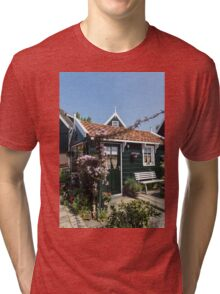 Dutch Country Charm - a Beautiful Little Cottage with Flowers Tri-blend T-Shirt