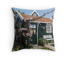 Dutch Country Charm - a Beautiful Little Cottage with Flowers Throw Pillow