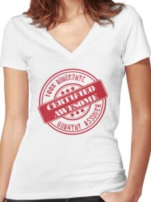 Certified Awesome Women's Fitted V-Neck T-Shirt