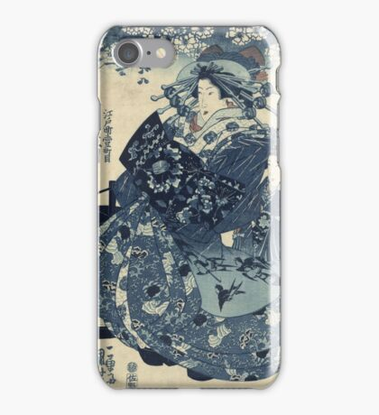 Utagawa Kuniyoshi - The Courtesan Hanao Of Ogi-Ya. Woman portrait: sensual woman, geisha, kimono, courtesan, silk, beautiful dress, umbrella, wig, lady, exotic, beauty iPhone Case/Skin
