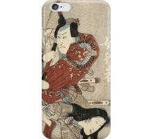 Utagawa Kuniyoshi - Two Actors In The Roles Of Saitogo Kunitake And A Female Buddhist Devotee. Lovers portrait:  actor ,  mask,  face,  man ,  samurai , hero, costume, kimono, tattoos, theater, shows iPhone Case/Skin