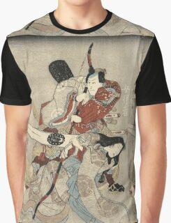 Utagawa Kuniyoshi - Two Actors In The Roles Of Saitogo Kunitake And A Female Buddhist Devotee. Lovers portrait:  actor ,  mask,  face,  man ,  samurai , hero, costume, kimono, tattoos, theater, shows Graphic T-Shirt