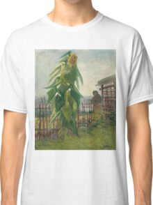 Vincent Van Gogh - Allotment With Sunflower. Country landscape: village view, country, buildings, house, rustic, farm, field, countryside road, trees, garden, flowers Classic T-Shirt