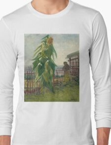 Vincent Van Gogh - Allotment With Sunflower. Country landscape: village view, country, buildings, house, rustic, farm, field, countryside road, trees, garden, flowers Long Sleeve T-Shirt