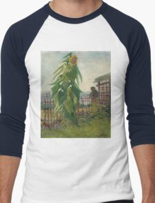 Vincent Van Gogh - Allotment With Sunflower. Country landscape: village view, country, buildings, house, rustic, farm, field, countryside road, trees, garden, flowers Men's Baseball ¾ T-Shirt