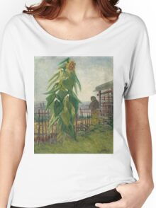 Vincent Van Gogh - Allotment With Sunflower. Country landscape: village view, country, buildings, house, rustic, farm, field, countryside road, trees, garden, flowers Women's Relaxed Fit T-Shirt
