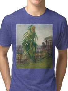 Vincent Van Gogh - Allotment With Sunflower. Country landscape: village view, country, buildings, house, rustic, farm, field, countryside road, trees, garden, flowers Tri-blend T-Shirt
