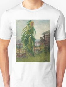 Vincent Van Gogh - Allotment With Sunflower. Country landscape: village view, country, buildings, house, rustic, farm, field, countryside road, trees, garden, flowers Unisex T-Shirt