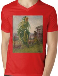 Vincent Van Gogh - Allotment With Sunflower. Country landscape: village view, country, buildings, house, rustic, farm, field, countryside road, trees, garden, flowers Mens V-Neck T-Shirt
