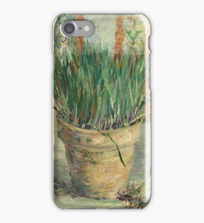 Vincent Van Gogh - Flowerpot With Garlic Chives. Still life with flowers: blossom, nature, botanical, floral flora, wonderful flower, plants, cute plant for kitchen interior, garden, vase iPhone Case/Skin