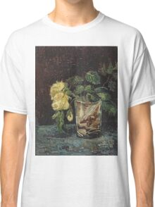 Vincent Van Gogh - Glass With Yellow Roses. Still life with flowers: flowers, blossom, nature, botanical, floral flora, wonderful flower, plants, cute plant for kitchen interior, garden, vase Classic T-Shirt