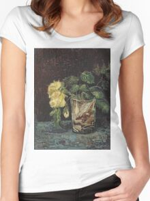 Vincent Van Gogh - Glass With Yellow Roses. Still life with flowers: flowers, blossom, nature, botanical, floral flora, wonderful flower, plants, cute plant for kitchen interior, garden, vase Women's Fitted Scoop T-Shirt