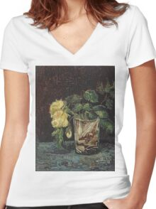 Vincent Van Gogh - Glass With Yellow Roses. Still life with flowers: flowers, blossom, nature, botanical, floral flora, wonderful flower, plants, cute plant for kitchen interior, garden, vase Women's Fitted V-Neck T-Shirt