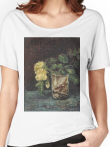 Vincent Van Gogh - Glass With Yellow Roses. Still life with flowers: flowers, blossom, nature, botanical, floral flora, wonderful flower, plants, cute plant for kitchen interior, garden, vase Women's Relaxed Fit T-Shirt