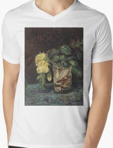 Vincent Van Gogh - Glass With Yellow Roses. Still life with flowers: flowers, blossom, nature, botanical, floral flora, wonderful flower, plants, cute plant for kitchen interior, garden, vase Mens V-Neck T-Shirt