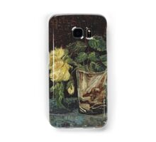 Vincent Van Gogh - Glass With Yellow Roses. Still life with flowers: flowers, blossom, nature, botanical, floral flora, wonderful flower, plants, cute plant for kitchen interior, garden, vase Samsung Galaxy Case/Skin