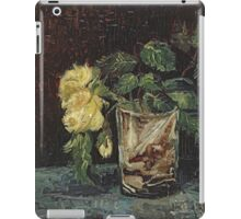 Vincent Van Gogh - Glass With Yellow Roses. Still life with flowers: flowers, blossom, nature, botanical, floral flora, wonderful flower, plants, cute plant for kitchen interior, garden, vase iPad Case/Skin