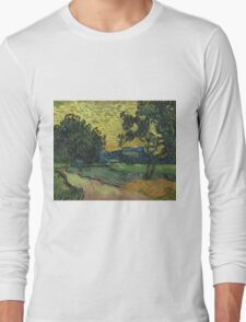 Vincent Van Gogh - Landscape At Twilight. Country landscape: village view, country, buildings, house, rustic, farm, field, countryside road, trees, garden, flowers Long Sleeve T-Shirt