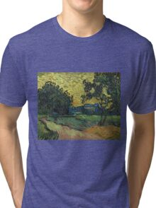 Vincent Van Gogh - Landscape At Twilight. Country landscape: village view, country, buildings, house, rustic, farm, field, countryside road, trees, garden, flowers Tri-blend T-Shirt