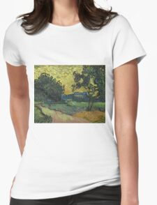 Vincent Van Gogh - Landscape At Twilight. Country landscape: village view, country, buildings, house, rustic, farm, field, countryside road, trees, garden, flowers Womens Fitted T-Shirt