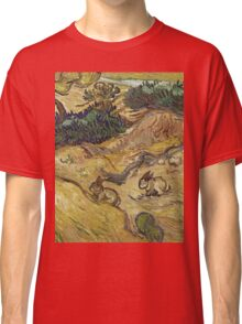 Vincent Van Gogh - Landscape With Rabbits. Field landscape: field landscape, nature, village, garden, flowers, trees, sun, rustic, countryside, hare, hares, summer Classic T-Shirt