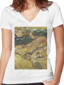 Vincent Van Gogh - Landscape With Rabbits. Field landscape: field landscape, nature, village, garden, flowers, trees, sun, rustic, countryside, hare, hares, summer Women's Fitted V-Neck T-Shirt