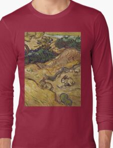 Vincent Van Gogh - Landscape With Rabbits. Field landscape: field landscape, nature, village, garden, flowers, trees, sun, rustic, countryside, hare, hares, summer Long Sleeve T-Shirt