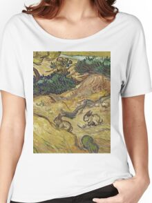 Vincent Van Gogh - Landscape With Rabbits. Field landscape: field landscape, nature, village, garden, flowers, trees, sun, rustic, countryside, hare, hares, summer Women's Relaxed Fit T-Shirt