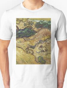 Vincent Van Gogh - Landscape With Rabbits. Field landscape: field landscape, nature, village, garden, flowers, trees, sun, rustic, countryside, hare, hares, summer Unisex T-Shirt