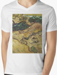 Vincent Van Gogh - Landscape With Rabbits. Field landscape: field landscape, nature, village, garden, flowers, trees, sun, rustic, countryside, hare, hares, summer Mens V-Neck T-Shirt