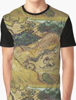 Vincent Van Gogh - Landscape With Rabbits. Field landscape: field landscape, nature, village, garden, flowers, trees, sun, rustic, countryside, hare, hares, summer Graphic T-Shirt