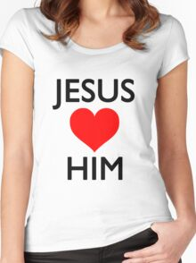 Jesus loves him Women's Fitted Scoop T-Shirt