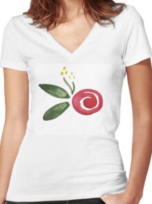 Watercolor Roses Women's Fitted V-Neck T-Shirt
