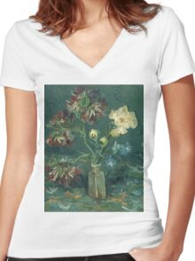 Vincent Van Gogh - Small Bottle With Peonies And Blue Delphiniums. Still life with flowers: blossom, nature, botanical, floral flora, wonderful flower, plants, plant, kitchen interior, garden, vase Women's Fitted V-Neck T-Shirt