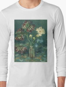 Vincent Van Gogh - Small Bottle With Peonies And Blue Delphiniums. Still life with flowers: blossom, nature, botanical, floral flora, wonderful flower, plants, plant, kitchen interior, garden, vase Long Sleeve T-Shirt