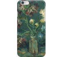 Vincent Van Gogh - Small Bottle With Peonies And Blue Delphiniums. Still life with flowers: blossom, nature, botanical, floral flora, wonderful flower, plants, plant, kitchen interior, garden, vase iPhone Case/Skin